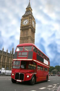 London - big ben and a london bus